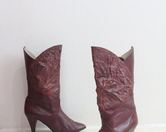 Vintage Exotic Oxblood Leather Boots Sz 6.5/7