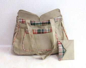 Vintage Plaid with Tan Canvas Handbag