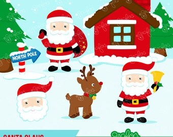 ... tmas Clipart, Santa Clipart, North Pole Clipart / Instant Download