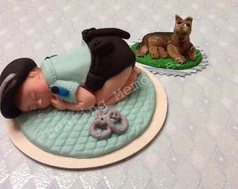 BABY SHOWER Police Baby Boy or Baby Girl with Dog on a Quilted Blanket - Edible Topper