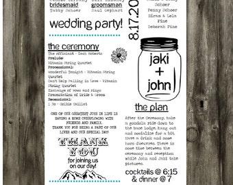 Customized Printable Mason Jar Wedding Program