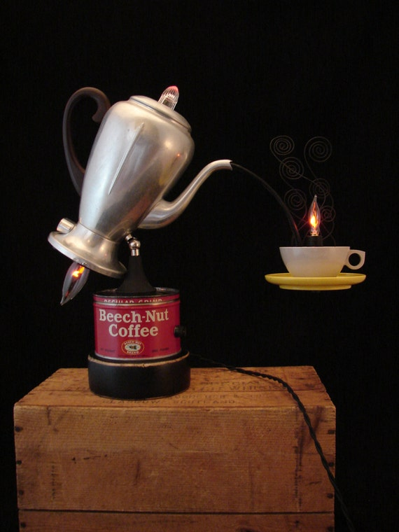 Table Lamp Upcycled Vintage Percolator Lamp