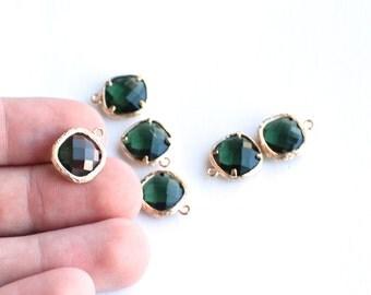 SALE Bezel Gemstones Turmaline Green Charm in Gold Vermeil Texture - 15x12mm - 2pcs - Ships Immediately from California - GEM47