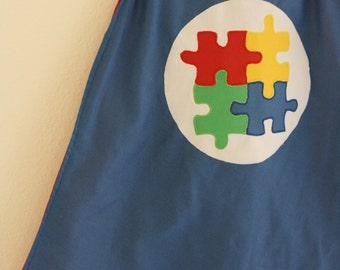 Autism Awareness Upcycled Super Hero Cape: Superhero