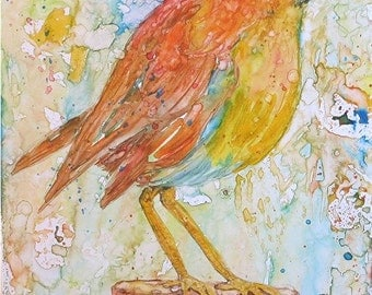 Baby Bird, Nursery, Baby Girl,Toddler Room, Original Fine Art  Contemporary Watercolor Painting by ebsq Artist Ricky Martin FREE SHIPPING