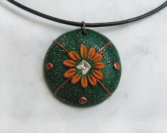 Gerbera applique / embroidery polymer clay pendant