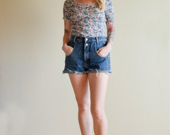 1990s SML fitted ROSE floral mini t-shirt with raw edges
