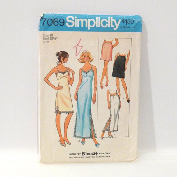 Slip Sewing Pattern Vintage Lingerie FF Simplicity 7069 Size 10 Bust 32 Half slip nightgown Slip Dress Stretch knit  70s Free US Ship