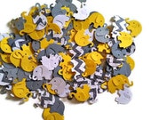 Elephant Confetti Yellow and Gray 100 pieces, Baby Shower