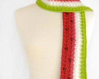 Watermelon Scarf Crochet Scarf - Food Scarf - Fruit Scarf - Kawaii - Unique Scarf-Red and Green-Women Scarf