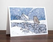 Farmhouse Owl Christmas Card - Winter Snow Landscape