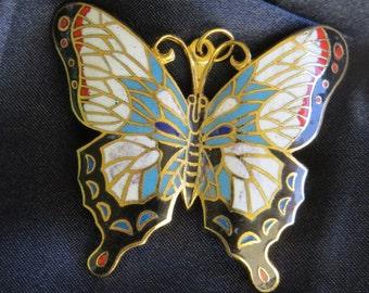 Vintage Enamel Cloisonne Butterfly Gold tone Pendant Art Nouveau Style Brooch