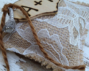 Tiny Burlap and Lace Ring Bearer Pillow - Rustic Ring Bearer Pillow - Burlap Ring Bearer Pillow