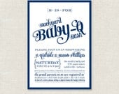 Backyard Baby-Q Bash Shower Invitations - Available in Navy, Coral and Emerald - PRINTABLE
