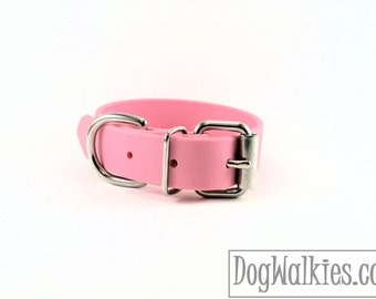 "Biothane Dog Collar - Bubblegum Pink 1"" (25mm) Wide - Leather Look and Feel - Waterproof - Brass or Stainless Hardware - Baby Pastel Pink"