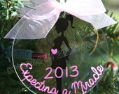 Great Gift Idea for Expecting Mother / Mother to Be / Pregnancy.  Expecting a Miracle Pregnancy Ornament.