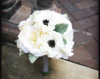 Gray, Cream, Black & White Silk Wedding Bouquet with Roses, Peonies, Anemones and Dusty Miller