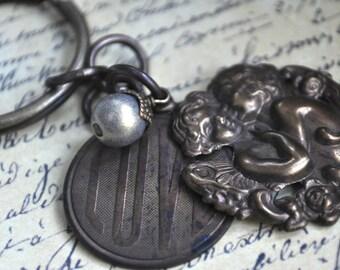 love keychain, lovers keychain, cherub keychain, hand oxidized love key chain, pearl and hand oxidized brass keychain, angel keychain