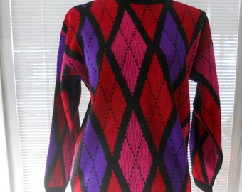 Vintage Argyle Sweater Women's Bright Red Sweater Diamond Pattern Hot Pink Large Oversize Sweater SALE