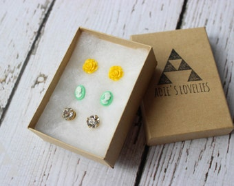 three sets of post earrings - yellow rose + mint cameo + crystal clear