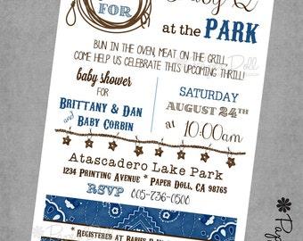Baby Shower Invitations - NAVY Baby Q - BBQ - Themed - Printed Invitations