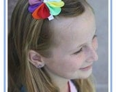 Rainbow Hair Bow - Rainbow Hair Clip - Scout Hair Clip - Scout Headband - Flower Headband Hair Clip - Baby Infant Child Teen Adult Hair Clip
