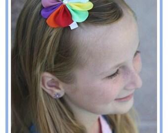 Rainbow Hair Bow - Rainbow Hair Clip - Scout Hair Clip - Scout Headband - Flower Headband Hair Clip - Baby Infant Child Teen Adult Hair Clip