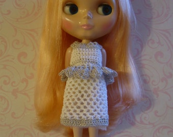 BLYTHE Dress & Tiara #7 - Hand Crocheted