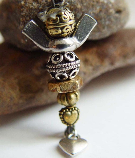 Guardian Angel Angels on Duty 911 Tribute PIN, Mixed Metal Antique Bronze & Silver Wing Nut
