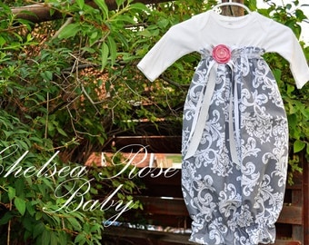 Baby Girl Gray Damask Dress, Damask print, Designer Sleep Gown, Layette, Baby Nightgown, Newborn Sleep Sack, Baby Girl