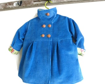 Toddler Girls Winter Swing Coat in Corduroy Wool or Tweed Custom Designed Outerwear Jacket