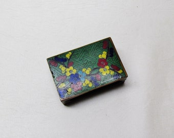 Vintage Chinese cloisonne matchbox holder, 1920's smoking accessory, vintage tobacciana