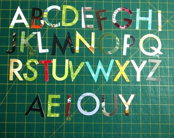 alphascraps - upcycled paper letters for scrapbooking, cardmaking, collage, decoupage