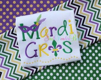 Mardi Gras Shirt - Mardi Gras Embroidered Shirt - Girls Mardi Gras Shirt - Beads - Mardi Gras Mask - Mardi Gras Mask Shirt-Mardi Gras Shirt