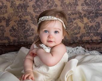 Halo, Silk, Newborn to Adult Tieback, Headband, Ecru,Natural,Taupe, rhinestones,pearls,Wedding,recycled sari silk, Photo Prop, Ready to Ship