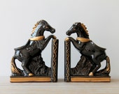 Vintage ceramic horse bookends / art deco inspired / black / gold / Japan / retro horse planter / hand decorated Relco / mid century kitsch