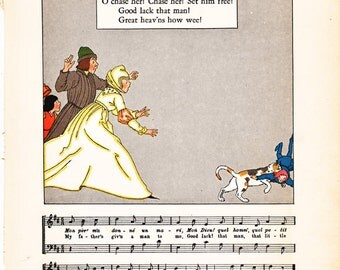 vintage French fairy tale illustration, from the 1920's, charming nursery or classroom decor