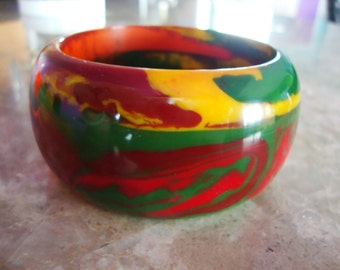 END of DAY MULTICOLOR Thick Domed Marbled Red Green Maroon Brown Orange Yellow Heavy Hand Made Resin Bangle Bracelet