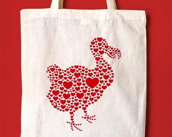 Dodo Tote Bag, Dodo Love Handprinted Tote, Girls Tote Bag, Love Hearts Tote, Cute Shopping Tote Bag, Screenprinted Tote,Bird Tote Bag