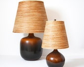 Vintage Large Lotte Boustlund Lamp with Original Jute and Fiberglass Shade