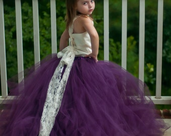 Flower Girl Tutu Dress Floor Length Sewn Tutu Dress Ivory and Eggplant Purple Satin Corset Top with Lace Straps 6 months-5t CUSTOMIZABLE