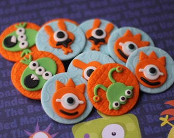 Cute Monster Fondant Cupcake Toppers - These Toppers Perfectly Match Our Cute Monster Cake Topper Set