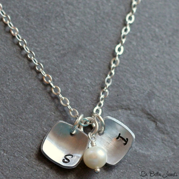 Hand Stamped Personalized Custom Two Petite Squares Initial Birthstone Mommy Couples Sterling Silver Necklace