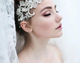 My Fabulous Fiona bridal headband  - Romantic birdcage veil with pearls and rhinestones