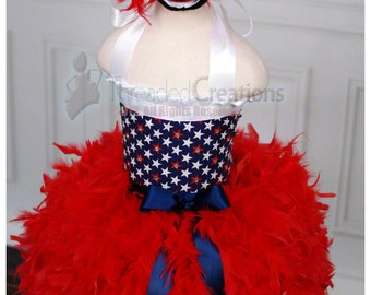 Feather Dress - America The Beautiful Patriotic Feather Dress