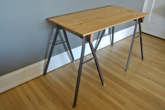 Reserved for matthew industrial desk w metal by pepeandcarols Sawhorse desk legs