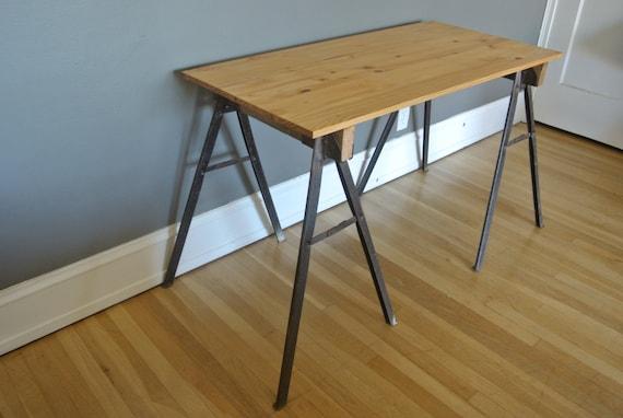 Reserved for matthew industrial desk w metal by pepeandcarols Sawhorse desk legs