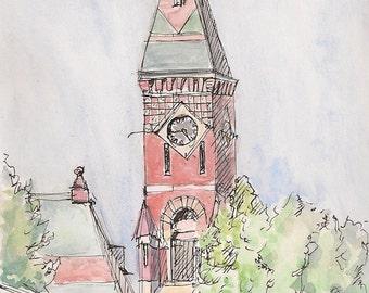 Abbot Hall, Marblehead Massachusetts, fine art print, wall art, decor, blue, green, red, brick spirit of 1776 size 8x10 New England Heritage