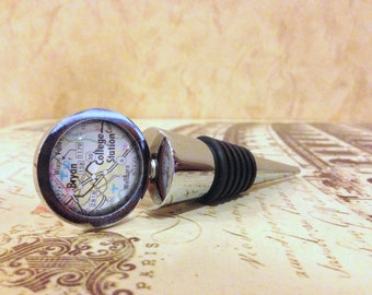 Wine Bottle Stopper - Texas Map Houston, San Antonio, Austin, College Station, Dallas, Huntsville, Galveston Wine Stoppers