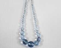 50s Blue Crystal Necklace - Graduated Faceted Crystal Glass Beaded Necklace
